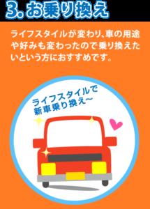3、お乗り換え。ライフスタイルが変わり、車の用途や好みも変わったので乗り換えたいという方におすすめです。